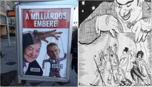 The first picture is from another Budapest bus stop, part of a separate campaign by Fidelitas, the youth wing of the governing Fidesz party. It depicts George Soros as a puppet-master controlling László Botka, the Socialist nominee for Prime Minister. Compare it with the second image of a cartoon from a Hungarian anti-Semitic publication in the 1930s.