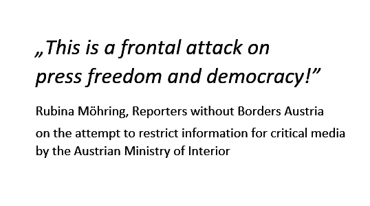 Austria: Ministry of Interior wants limited access for critical media